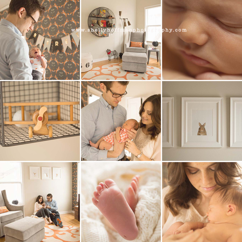 Newborn nursery decor, baby boy, red fox wallpaper, industrial vintage soft grey and orange accents