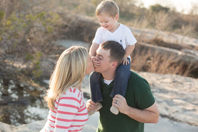 Austin family photo session toddler boy with mom and dad McKinney Falls
