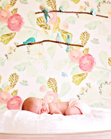 pink sleeping baby girl bird decor and anthropologie wallpaper